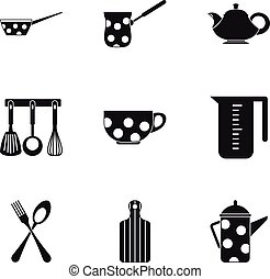 Kitchen utensils icons set, simple style