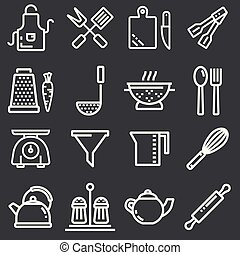 Kitchen utensils icons, thin line