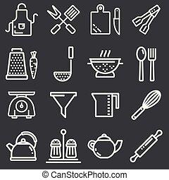 Kitchen utensils icons, thin line