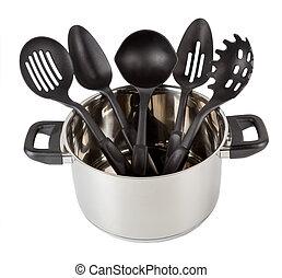 Kitchen Utensils in stainless steel cooking pot