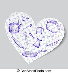 Kitchen utensils is drawn on a paper heart. Doodle image. Stock