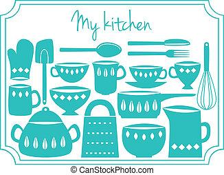 Kitchen utensils label - Illustration of kitchen dishes and...
