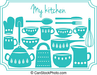 Kitchen utensils label - Illustration of kitchen dishes and...