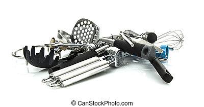 Kitchen utensils on a white background