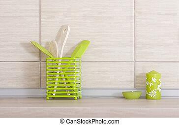 Kitchen utensils on countertop - Close up of kitchen...