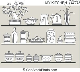 Kitchen utensils on shelves 8