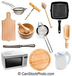 kitchen utensils  on white