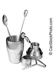 Kitchen utensils on white background