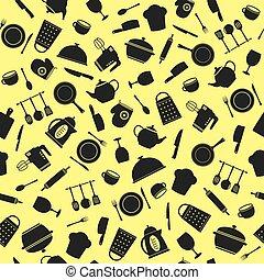 Kitchen utensils. Seamless pattern.