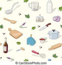 Kitchen utensils. Seamless pattern