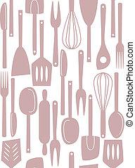 Kitchen utensils seamless pattern
