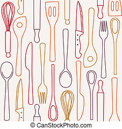 Kitchen and cooking utensils and cutlery - seamless pattern