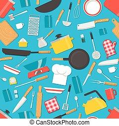 Kitchen tools seamless pattern. Cooking utensils background. Vector illustration