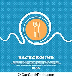 Kitchen utensils set icon sign. Blue and white abstract background flecked with space for text and your design. Vector
