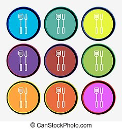 Kitchen utensils set icon sign. Nine multi colored round buttons. Vector