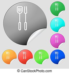 Kitchen utensils set icon sign. Set of eight multi colored round buttons, stickers. Vector