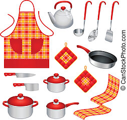 Set of different colorful kitchen utensils and accessories