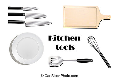 Kitchen utensils top view realistic set with isolated images of modern style flatware on blank background vector illustration