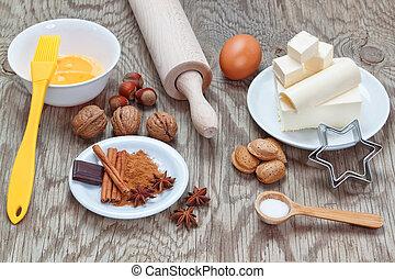 Kitchen utensils utensils for baking at Christmas.