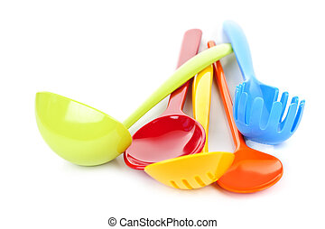 Kitchen utensils - Various colorful plastic kitchen utensils...