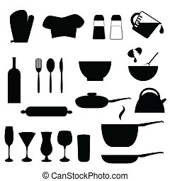 Various kitchen utensils in silhouette