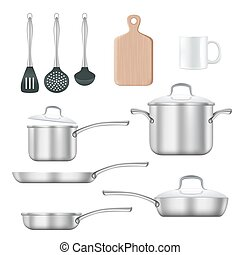 Kitchen utensils vector realistic illustration