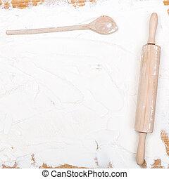 kitchen utensils with flour