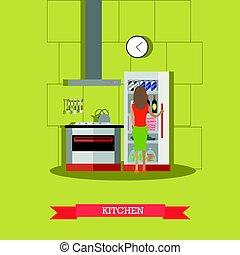 Kitchen vector illustration in flat style