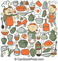 Kitchen vector set, cartoon colorful elements
