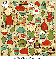 Kitchen vector set, cartoon colorful elements