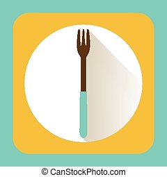 Kitchen ware fork. Vector flat icon with long shadow