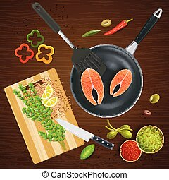 Kitchen Ware Top View Illustration