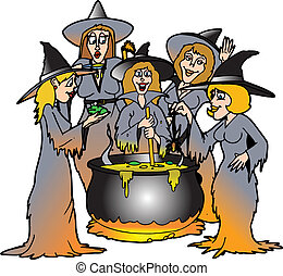 kitchen witches - a bunch of witches surrounding a cauldron...