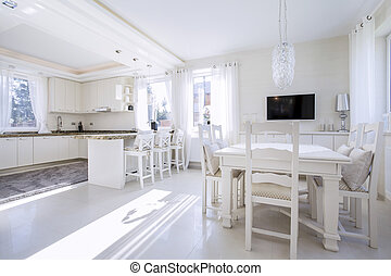 Kitchen with a bright dining area