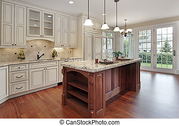 Kitchen with cherry wood island