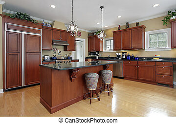 Kitchen with cherrywood cabinetry