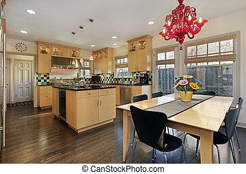 Kitchen with colored tile backsplash