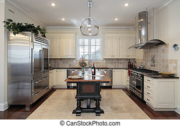 Kitchen with cream colored cabinetry - Kitchen in luxury...