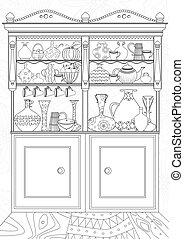 kitchen with cupboard for your coloring book