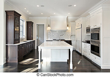 Kitchen with dark and light cabinetry