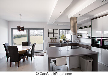 Kitchen with dining room - Modern and light kitchen with...