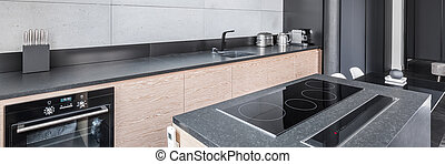 Kitchen with functional worktop