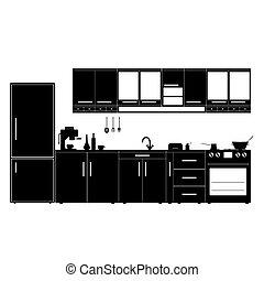 kitchen with furniture black illustration