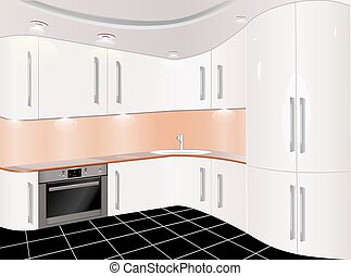 Kitchen with furniture vector illustration