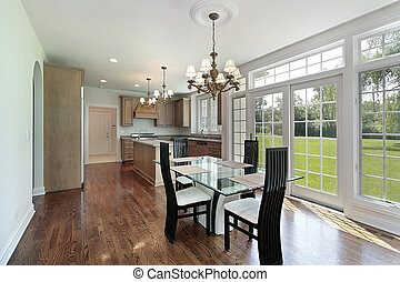 Kitchen in suburban home with glass sliding doors