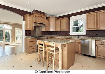 Kitchen with granite and wood island