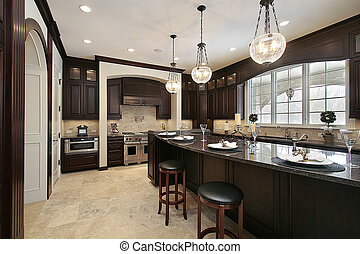 Kitchen in new construction home with granite island