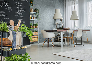 Kitchen with industrial dining area