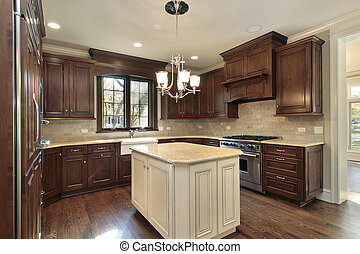 Kitchen with island - Kitchen in new construction home with ...