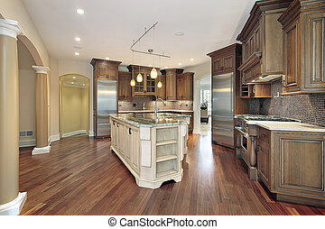 Kitchen with L-shaped island - Kitchen in new construction...